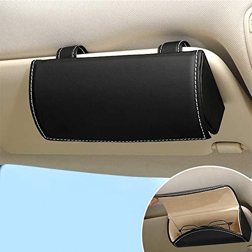ontto Brillenhalter für Auto Sonnenblende Universal PU Leder Auto Sonnenbrille Brillenetui Brillenbox Aufbewahrungsbox Organizer mit Magnetischem Funktion Interieur Zubehör für Auto SUV RV LKW-Schwarz