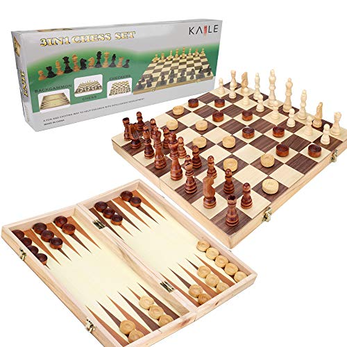 KAILE 3-in-1 Wooden Chess Set & Checkers & Backgammon Set with Folding Carrying Case Folding and Travel Chess Board for Adults and Kids 15 inch