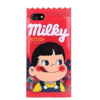 Red Milky Candy Bar Soft Case for iPhone 7 8 iPhone7 iPhone8 Regular Size Peko Chan Little Girl Cute Lovely Kawaii Unique Shockproof Protective Japan Japanese Cartoon Gift Kids Teens Women Milk Peko
