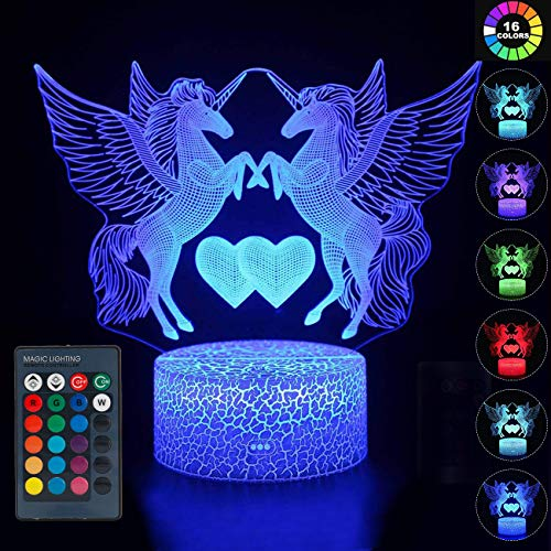 wgde toy Jouet de Fille de 2-10 Ans, lumière de Nuit LED 3D de la Licorne pour Enfants Jouet de Fille de 3-12 Ans, Anniversaire de Noël Cadeau de Licorne de la Fille 2-8 Ans