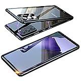 Magnética Funda para Samsung Galaxy Note 20 Ultra 5G, Protector de Lente de cámara Doble Vidrio Templado Case Marco Metal Funda Protección 360 Grados Alta definición Camera Protector Cubierta - Negro