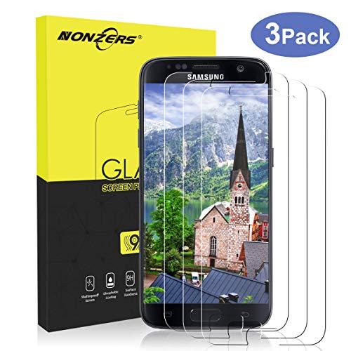 NONZERS Cristal Templado para Samsung Galaxy S7, [3 Unidades] 9H Dureza Alta Definicion Vidrio Templado, Anti-rasguños, Sin Burbujas, Anti Dactilares, Protector de Pantalla para Samsung Galaxy S7