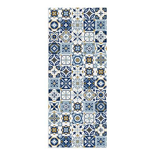 Alfombra Vinílica para Cocina, 120 x 50 cm, Baldosas Azules, Alfombra de Vinilo Antideslizante y Lavable, Multiuso, ALV-075