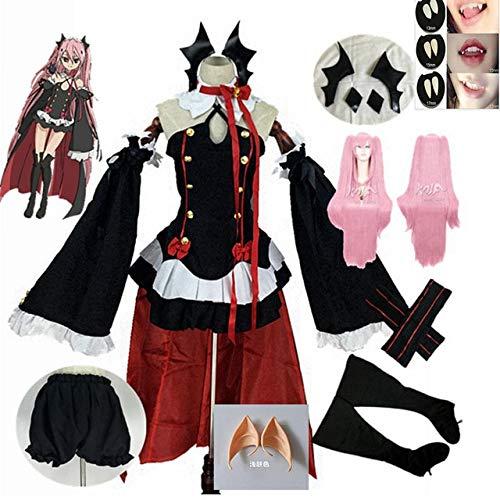 Neue Anime Seraph Des Endes Krul Tepes Perücken Cosplay Kostüme Lolita Kleid Vampir Uniformen 6pcs / Set Für Halloween Party Spielen L vollständiger Satz