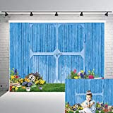 DANIU Easter Spring Photography Backdrop Easter Blue Wood Door Wall Garden Floral Flower Baby Shower Birthday Party Decor Supplies Kids Portrait Photo Booth Studio Prop