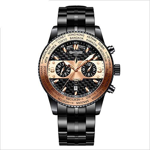 Angelay-Tian Reloj mecánico for Hombre, Impermeable, automático, multifunción, Correa mecánica, Espejo de Zafiro, Reloj Informal for Hombre de Acero Inoxidable (Color : Brass)