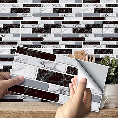 Swinno 27 pegatinas para azulejos de imitación de mármol para pared, pegatinas de ladrillo, autoadhesivas, impermeables, para decoración de baño (20 x 10 cm)