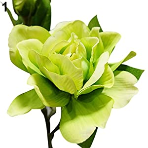everd1487HH 1Pc 3 Heads Fashion Artificial Gardenia Flower Wedding Party Bouquet Home Decor Artificial Flower Non-Fading Gift Green
