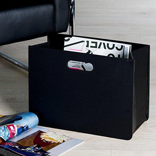 Zeitungskorb aus Kunstleder, schwarz