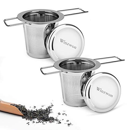 Winzwon Teesieb, Teefilter mit Deckel, Abtropfschale, 304 Edelstahl TeeSieb für losen Tee, Premium Sieb, Faltbare Griffgestaltung Passend für die Meisten Tee-Tassen und Tee-Schalen (Pack of 2)