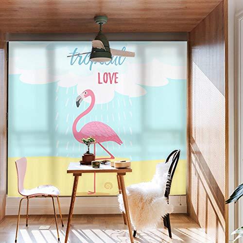 Pallima Fensterfolie Glasaufkleber Elegante Flamingo Mode Fenster Dekorfolie Kein Kleber Statische PVC Glas Aufkleber Einfache Bedienung Abnehmbare Aufkleber Ventana De Cine 60X90 cm