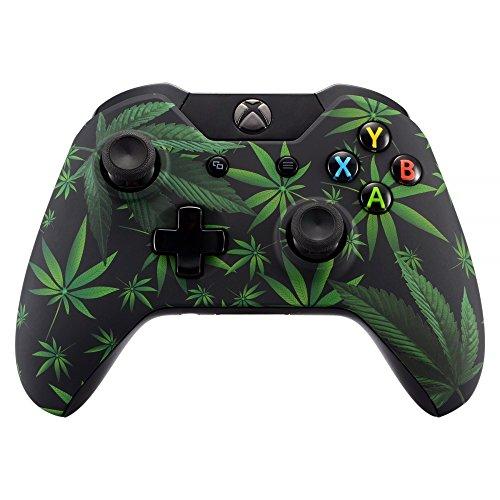 eXtremeRate Gehäuse für Xbox One Controller,Case Hülle Ersatzteile Zubehör Faceplate für Xbox One Standard Controller mit Oder Ohne 3,5mm Anschluss(Grüne Cannabis)