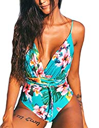 ♥ FEATURES - Plunge V-Neck, Removable Padded, Backless, Sexy and Eye-catching. High Waist, High cut, Thong Bottom, show the beauty of your round butt and long leg. RIOJOY 2019 New one piece swimsuit for women. ♥ PREMIUM FABRIC - Stretchy Material inc...