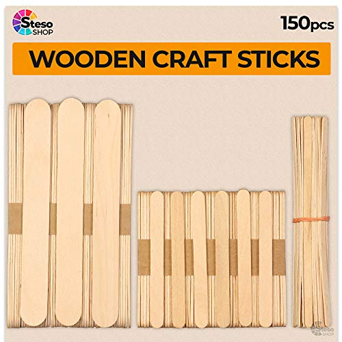 StesoSHOP Popsicle Stick - Jumbo Craft Sticks - Mixed Sizes Popsicle Holz Eis - Wooden Popsicle Bulk - Variety Sortiment Multi Large Mini Recycled - Durable Wax Sticks …