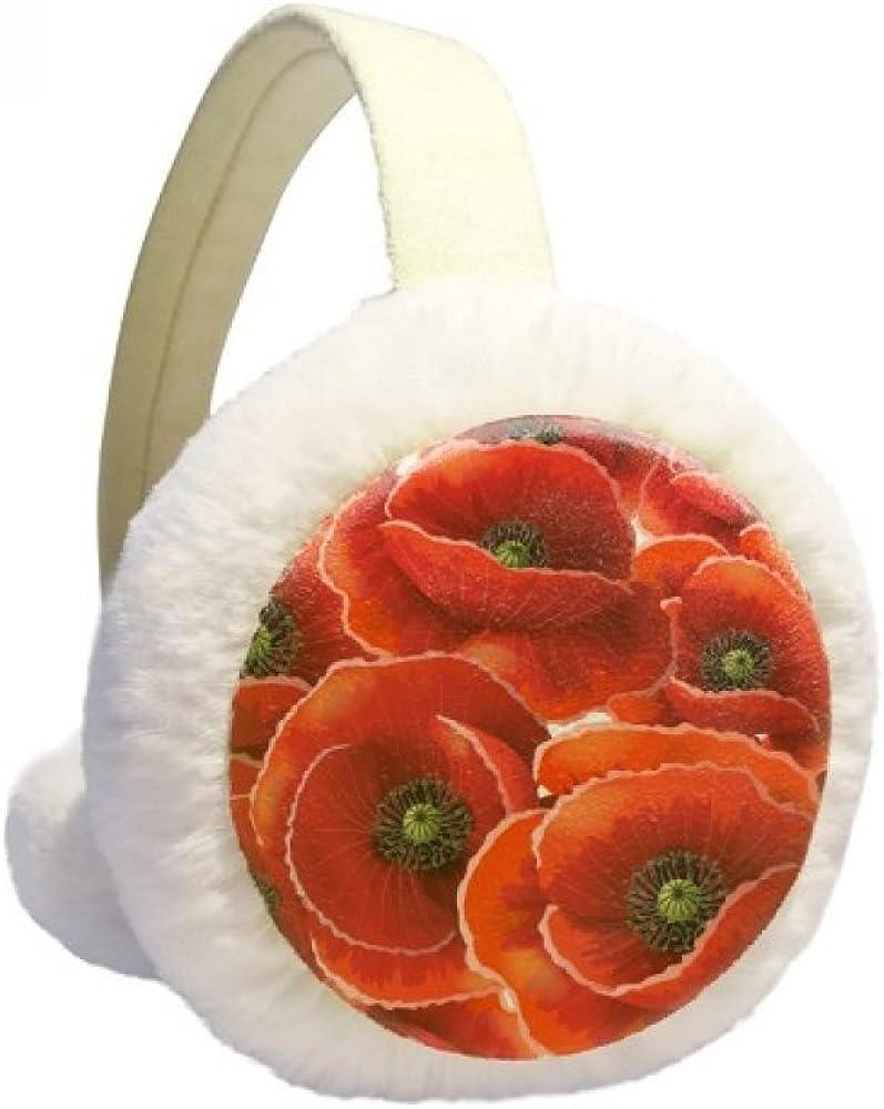 Red Flowers Corn Bespread Winter Ear Warmer Cable Knit Furry Fleece Earmuff Outdoor