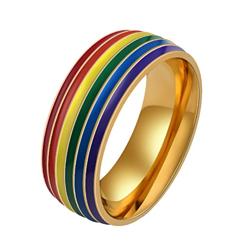 HIJONES Men's Stainless Steel Gay and Lesbian LGBT Pride Ranibow Ring Gold 8mm Size T