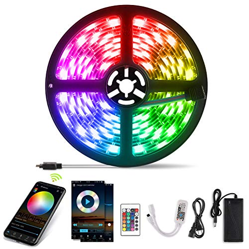 YISSVIC WIFI Tira LED Tiras de LED Inteligente 5m 5050RGB Multicolor 12V Impermeable IP65 Aplicación con ALEXA Google Home...