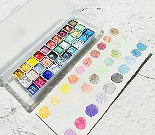 30 Colori Solid Quarter Pans Metallic Pearl Acquerello Vernice Set Set di Vernice per Cadere ad acquerelli ad acquerelli a Mano Nail Art Disegno acuarelas (Color : Quarter Pan 30colors)