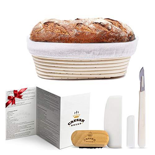 Caesar Brot Gärkorb Banneton Brot, 25,4 cm, ovale Sauerteig-Brotform zum Aufsteigen von Teig, inklusive Stoffeinlage, Schaber, Brotlame, Bürste und Rezeptbuch für Anfänger und professionelle Bäcker