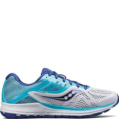Saucony Women's Ride 10 Running Shoe, White Blue, 5 Medium US