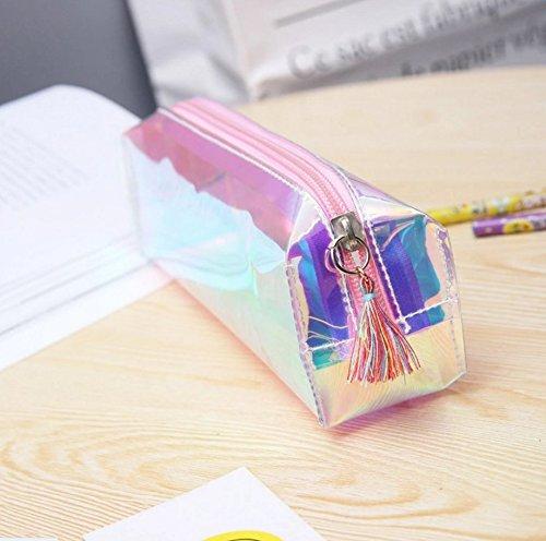 Mytobang - 1 astuccio alla moda, olografico, grande, trasparente, tinta unita, per penne, matite, trucchi, cosmetici, cancelleria, scuola, ufficio, con cerniera