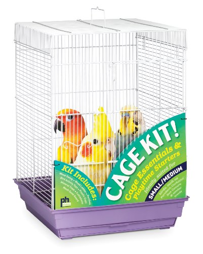 Prevue Hendryx 91210 Square Roof Bird Cage Kit, White and Purple