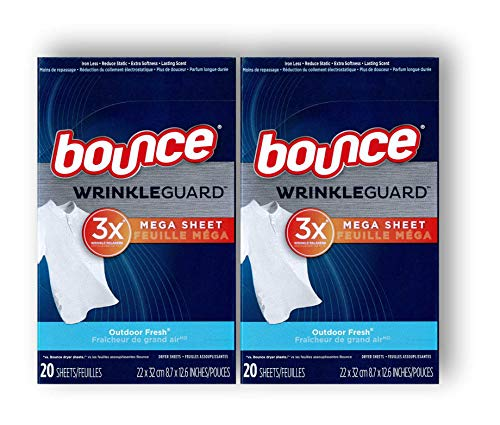 Price comparison product image Bounce Wrinkle Guard Dryer Sheets - Outdoor Fresh - Mega Sheet - 20 Count Sheets Per Box - Pack of 2 Boxes