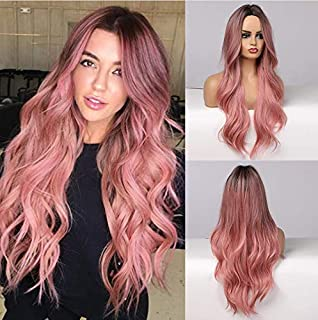 piaou Ombre Black to Pink Wig Synthetic Wigs for Women Long Natural Wave Heat Resistant Hair Wigs Natural Looking (Ombre B...