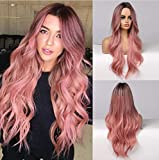 Piaou Ombre Black to Pink Wig Synthetic Wigs for Women Long Natural Wave Heat Resistant Hair Wigs Natural Looking (Ombre Black to Pink)