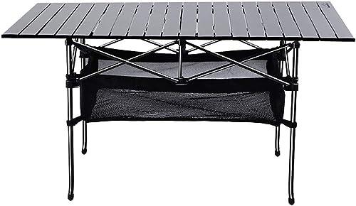 ANFAY Table de Camping Table à Rouler 120  55  65 cm Table Pliable Filet de Stockage Alliage d'aluminium Bureau Portable avec Sac de Transport,Netless