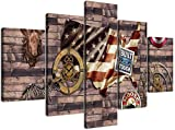 Looaceo Cuadro Modular 5 Piezas Modern Extra Large Retro American Flag Canvas Print Painting 5 Panel Contemporary Prints And Poster Hd Gallery- Vintage Wall Art Set Pa 78,7 * 39 pulgadas 200 * 100 cm