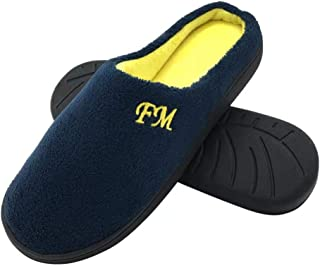 FUNKYMONKEY Women's Men's Comfort Memory Foam Slipper with Wool-Like Lining Warm House Shoes
