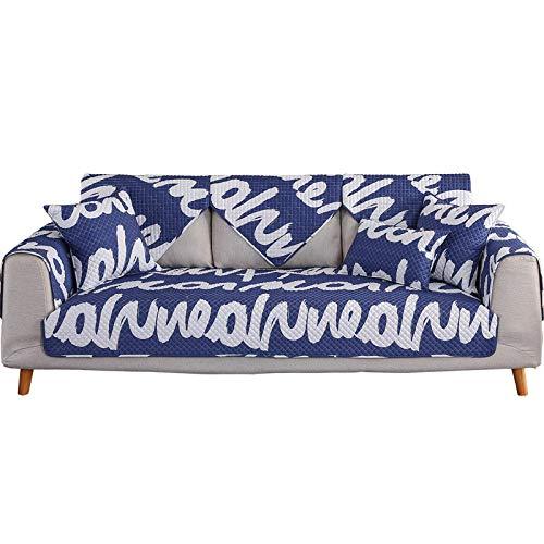 YUTJK Volle Deckung Schonbezug Sofa,Anti-rutsch Plüsch Sofabezug Rückenlehne zu Decken,Moderne schlichtheit Couch Abdeckungen,Waschbare Baumwollgeschliffene Sofaabdeckung-Blau_90×120cm.