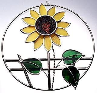 Stained Glass Sunflower on a Wire Ring