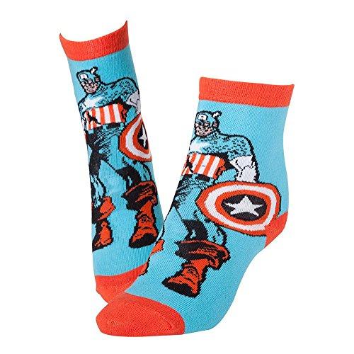 Marvel CR115903MAR-39/42 Captain America Comic Sketch Socken, blau, 7-10 (Size:39/42)