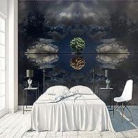 3D大型ウォールステッカー 星空の木 壁紙壁画 DIY不織布壁紙壁画HD印刷アートカスタマイズ可能なサイズのリビングルーム 寝室 の家の装飾 200X140cm (78X55inch)