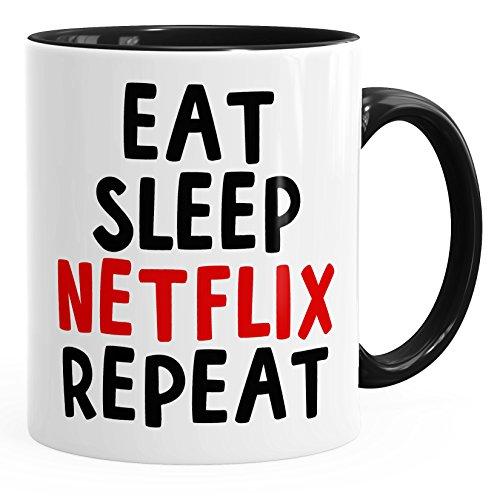 MoonWorks Spruch-Tasse Eat Sleep Netflix Repeat Serienjunkie chillen gammeln Kaffeetasse Teetasse Keramiktasse schwarz Unisize