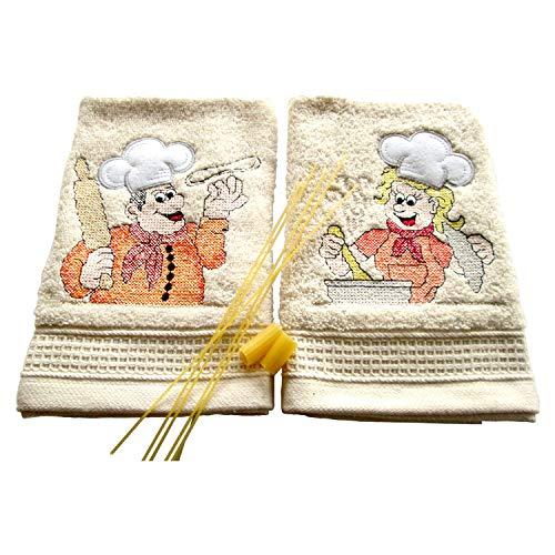 Bgeurope brodée en tissu éponge de cuisine torchons – Plat chiffons – Ref. Happy Cook