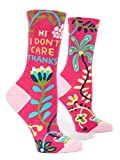 Blue Q Socks, Womens Crew,Hi I Dont Care Thanks,Womens Shoe Size 5-10