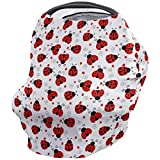 Nursing Cover for Breastfeeding Scarf Super Soft Cotton Multi Use for Baby Car Seat Covers Canopy Shopping Cart Cover Blanket Stroller Cover-Cartoon Ladybug Pattern