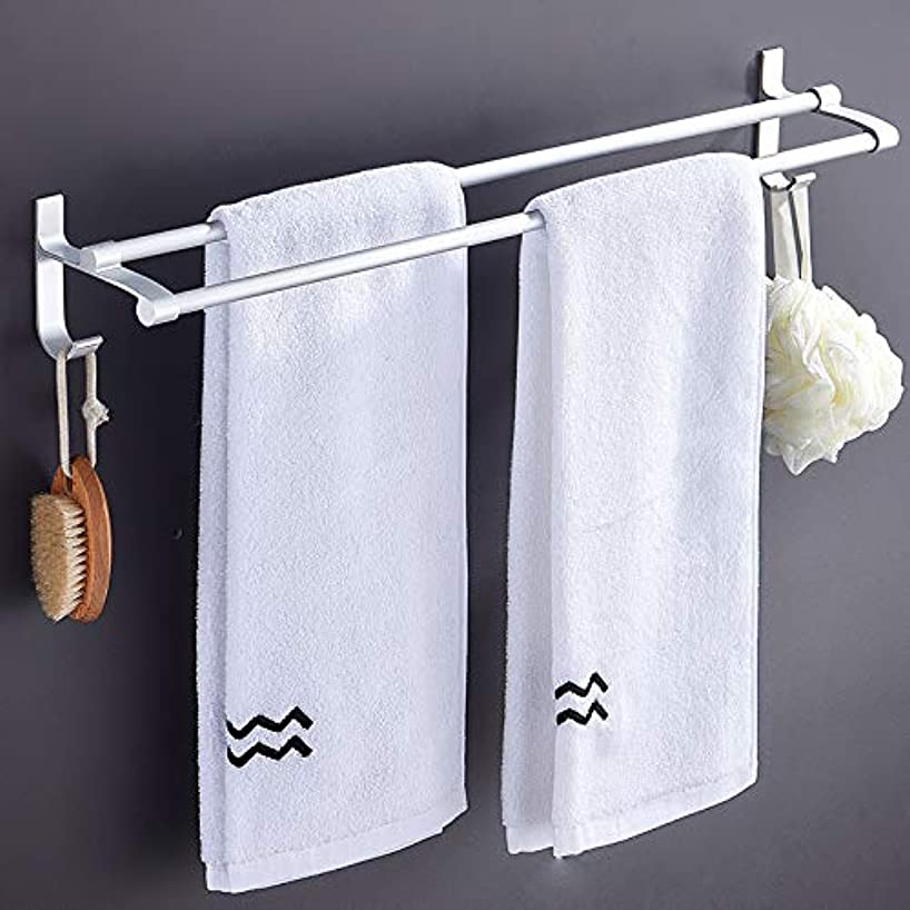 CICIN Stainless Steel Bathroom Towel Rack Shelf with Multi Towel Bar, Double Wall-Mounted Towel Holder Rails with Hooks 60cm