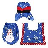 Greatangle-UK Decoraciones navideñas Cubierta de Asiento de Inodoro y Alfombra Juego de baño Muñeco de Nieve/Bufanda Cubiertas de Asiento de Inodoro Decorativas Tapas Azul