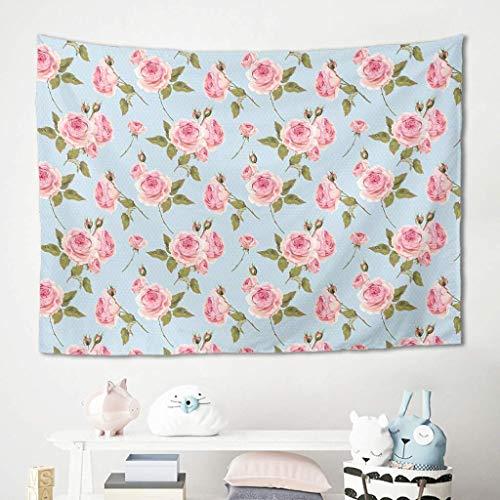 Tapiz para colgar en la pared, diseño de rosas de flores, para picnic, playa, playa, meditación, yoga, colcha, poliéster, blanco, 100 x 150 cm