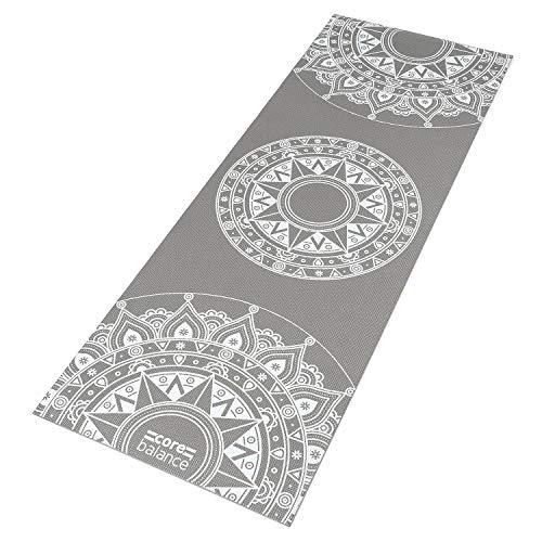 Core Balance Mandala Yoga Mat With Strap 6mm Thick Non Slip Home Exercise (Grey)