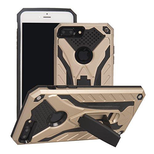 BestST Diseñado para Funda Apple iPhone 7 Plus, Híbrida Doble Capa Teléfono Móvil Carcasa Antigolpes Funda Rugged Protección Resistente Impactos Carcasa con Soporte para,Oro
