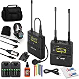 Sony UWP-D21 Camera-Mount Wireless Omni Lavalier Microphone System (UC14: 470 to 542 MHz) (UWP-D21/14) + Headphones + 8 x Rechargeable Batteries + 3.5 mm Aux Cable + Case + Sanitizer Mic Spray + More