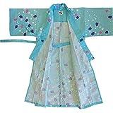 美杉堂 日本製 カラー浴衣 子供浴衣(四本紐つき) 桜と水玉柄 (中(着丈95cm), 浴衣帯:ついていません)