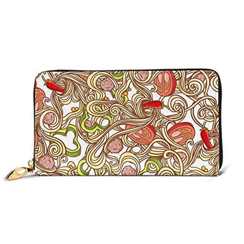 Lawenp Brieftasche Gedruckte Brieftasche Leder Reißverschluss Brieftasche Italienische Pasta Reise Brieftasche Telefon Clutch Geldbörse Kartenhalter Organizer Für Frauen Mädchen