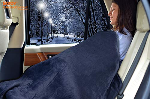 """Sojoy iHealthComfort 12V Electric Heated Travel Blanket with Intelligent Temp Controller 30/60/90 mins Timer High, Medium, Low 55""""x 40"""" (Navy Blue) BHO-008"""