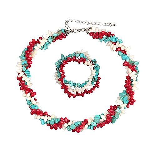 Gem Stone King 18inches Strands Coral Cultured Freshwater Pearl Simulated Turquoise Twist Necklace + Bracelet